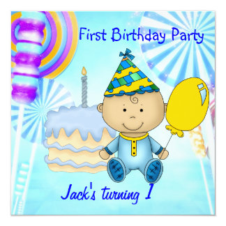 First Birthday Party Child's Boy Blue Cake 13 Cm X 13 Cm Square Invitation Card
