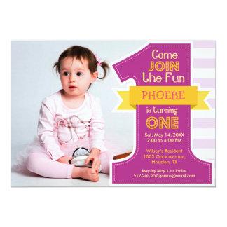 First Birthday Party Invitation Purple Girl