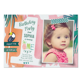 First Birthday Party Tropic Jungle Invitation Girl