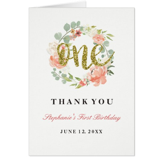 First Birthday Pink Gold Floral Wreath Card