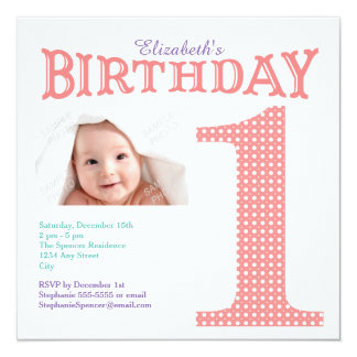First Birthday Pink Polka Dot Party Invitation