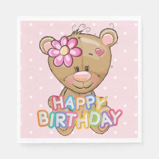 First Birthday Pink Polka Dots Teddy Bear Paper Napkin
