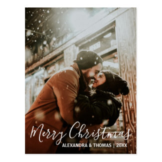 First Christmas Married Engaged White   PHOTO Postcard