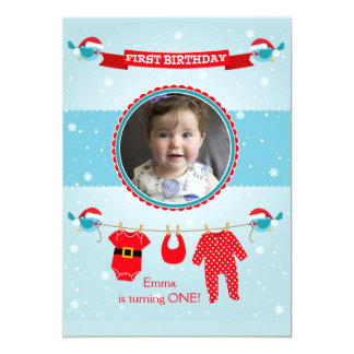 First Christmas Photo Birthday Party Invitation