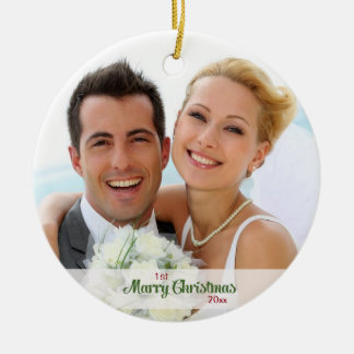 First Christmas Together- Newly Weds Round Ceramic Decoration