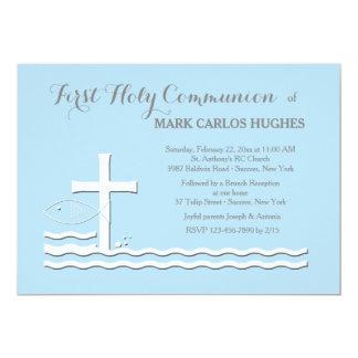First Communion Blue Invitation