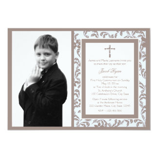 First Communion Brown and Blue Floral with Photo 13 Cm X 18 Cm Invitation Card