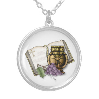 First Communion Chalice, Bible, Grapes Silver Plated Necklace