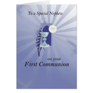First Communion for Nephew with Blue Rays Greeting Card