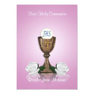 First communion invitation pink
