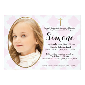 First Communion invitation, pink & faux gold Card