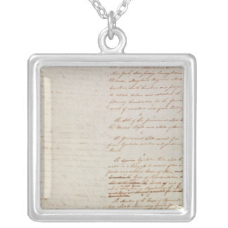 First draft of the Constitution of the U.S. Silver Plated Necklace