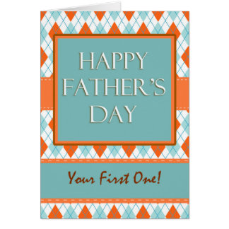 First Father's Day, Modern Argyle Design Card