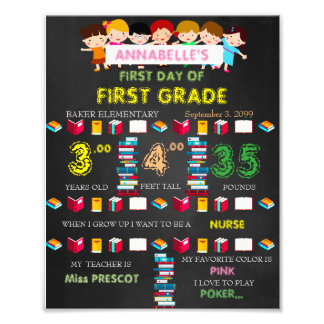 First Grade Sign Girl,low price,black & books,8x10 Photographic Print