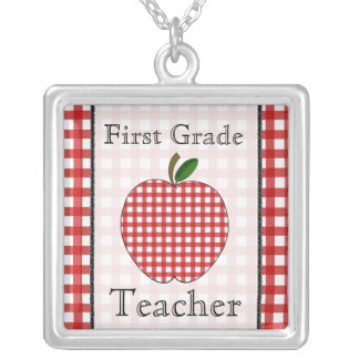 First Grade Teacher Red Gingham Apple Necklace