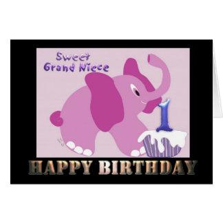 First Happy Birthday Grand Niece Pink Elephant Card