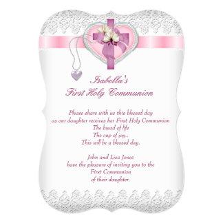 First Holy Communion 1st Cross Girls White Pink Fl Card