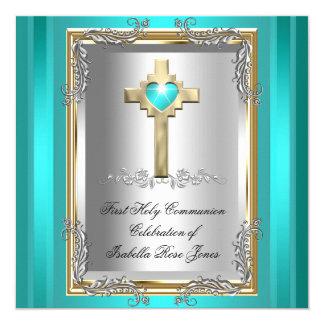 First Holy Communion 1st Girl Boy Cross Teal Blue Card