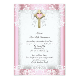First Holy Communion 1st Girls Cross Pink 8 Card