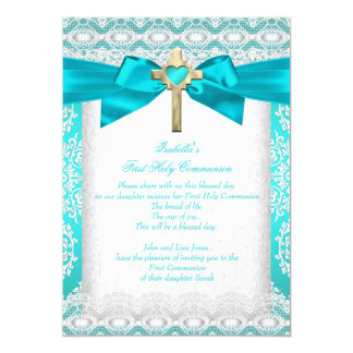 First Holy Communion 1st Girls Cross Teal Lace Card