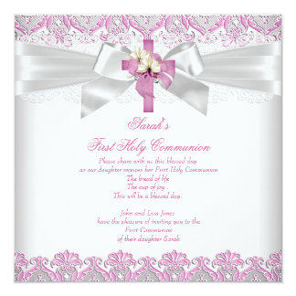 First Holy Communion 1st Girls Cross White Pink Card