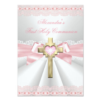 First Holy Communion 1st Gold Cross Girls Pink 3 Card