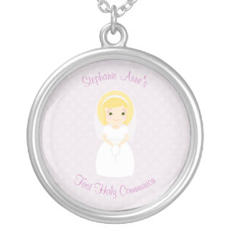 First Holy Communion Blonde Girl Silver Plated Necklace