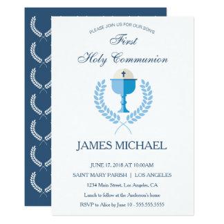 First Holy Communion Boys Blue Invitation