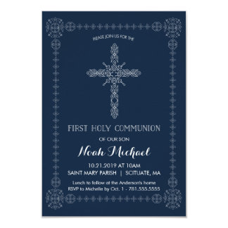 First Holy Communion Boys Invitation Elegant Cross