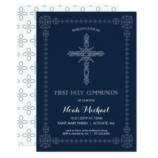 First Holy Communion Boys Invitation Elegant Cross