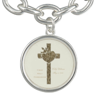 First Holy Communion Cross with Dove and Heart