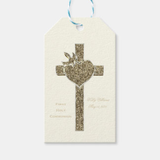 First Holy Communion Cross with Dove and Heart Gift Tags