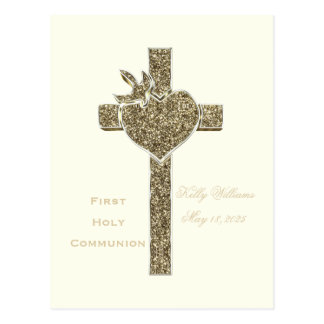 First Holy Communion Cross with Dove and Heart Postcard