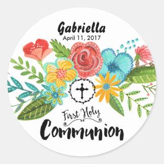 First Holy Communion Flower   Round Sticker