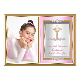 First Holy Communion Girls Pink Pearl Photo Card
