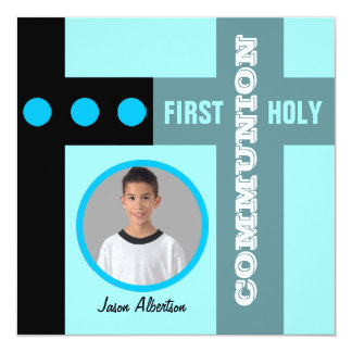 First Holy Communion Invitation Blue 2