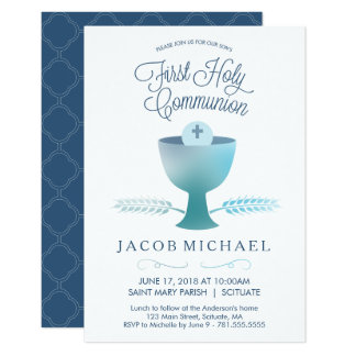 First Holy Communion Invitation - Boy's Invite