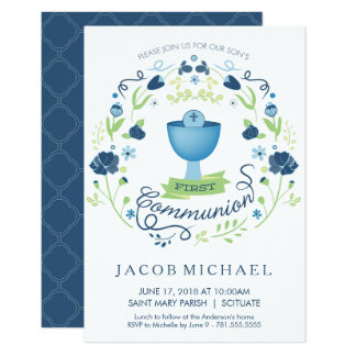 First Holy Communion Invitation Boy's Invite Card