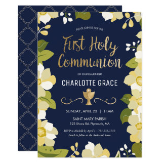 First Holy Communion Invitation, Floral w/ Gold Card