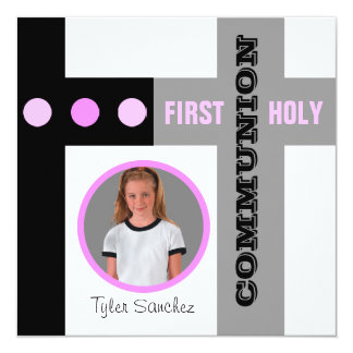 First Holy Communion Invitation Pink
