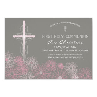 First Holy Communion Invitation w/ Cross, Daisies