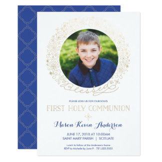 First Holy Communion Photo Invitation w/ Gold