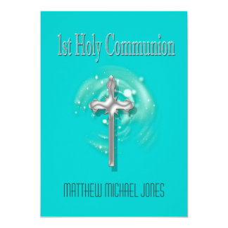 First holy communion silver cross card
