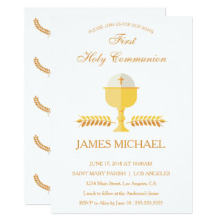 First Holy Communion Simple Golden Invitation