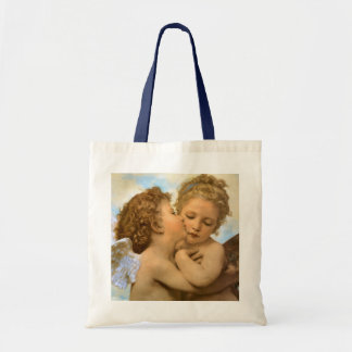 First Kiss by Bouguereau Vintage Victorian Angels Tote Bag