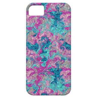 First Kiss Marbleised Glitter Pink Teal Silver Case For The iPhone 5