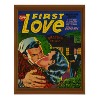 First Love Romance Comic Cover Vintage Poster