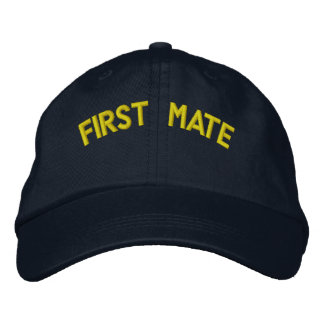 First mate text embroidered hat