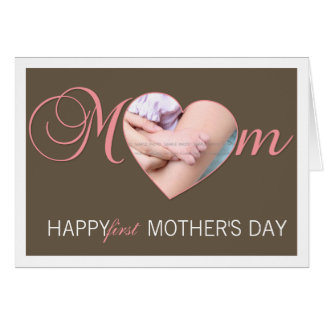 First Mother's Day Photo Heart New Mum Pink Brown Card