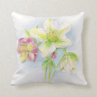 First signs of spring hellebore watercolor pillow